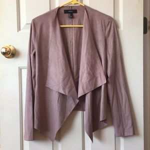 Forever 21 faux suede waterfall cardigan